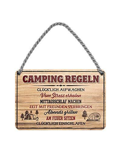 helges-shop Camping Regeln - witziges Retro Deko Metallschild mit Kordel und Saugnapf - Dekoration Wohnwagen Wohnmobil Camper Caravan Campingwagen Reisemobil - Geschenkidee für Camper - 18x12cm