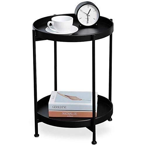 Mesa auxiliar de metal negro, mesa auxiliar redonda, multifuncional como mesita de noche para dormitorio, estante esquinero para...