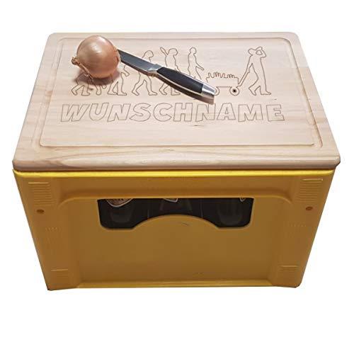 onlinegorillas Bierkastensitz und Schneidebrett aus Holz mit verschiedenen Motiven, mit eigener Gravur, personalisierte Geschenkidee (Bierevolution)