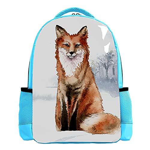 Mochila escolar azul para niños, mochila de viaje, bolsa de invierno, diseño floral de zorro