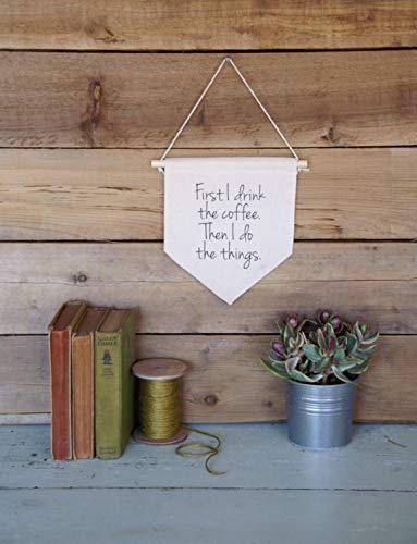 Canvas Muur Banner Home Decor Eerst Ik Drink De Koffie Muur Kunst Citaat Art Gilmore Meisjes Banner Vlag