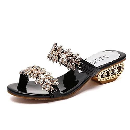 Señoras Gladiador Casual Rhinestone Verano Peep Toe Zapatos de mujer Wide Fit Vestido al aire libre Moda de playa Sandalias suaves Formales