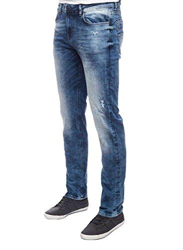 M.O.D Miracle of Denim NOS-1003 - Jeans da Uomo Blu (Light Blue Destroyed). 36W x 34L