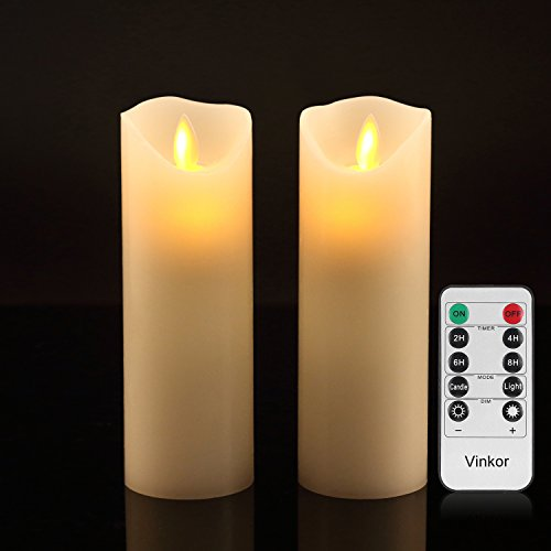 "Vinkor Flameless Candles Flickering Flameless Candles Set of 2 Decorative Flameless Candles: 6"" Classic Real Wax Pillar with Moving LED Flame & 10-Key Remote Control 2/4/6/8 Hours Timer (Ivory)"