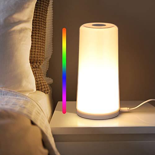 Albrillo RGB Luz Nocturna, Lámpara de Mesita con Control Tactil, Lámpara de Mesa LED con RGB Colores Ajustables y Luz Blanca Cálida Regulable, Lampara de Mesilla para Niños, Dormitorios y Salón