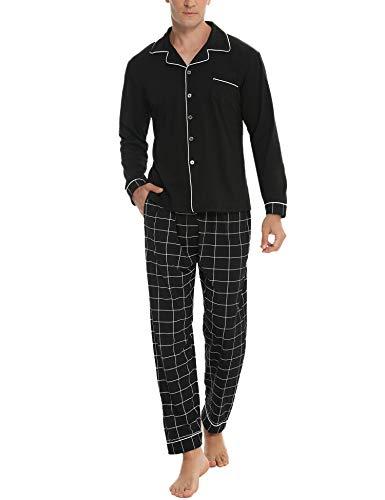 Akalnny Herren Schlafanzug Lang mit Knopfleiste Baumwolle Nachtwäsche Kariert Warm Zweiteiliger Langarm Pyjama Set