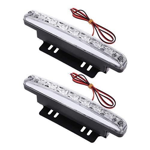 Vosarea - 1 paire de lampes LED 12 V étanche haute puissance - 8 LED DRL - Lumière du jour - Pour voiture (lumière blanche)