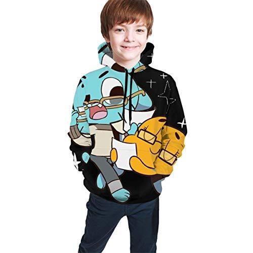 Hidend Sudaderas para Nia Nio,Sudadera con Capucha para Nios The Amazing World of Gumball Fit Teen Hooded Sweater Black