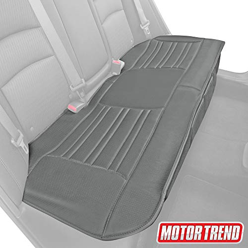 Motor Trend MTSC-421 Universal Car Seat Cushion (Bench) – Padded Luxury Cover with Non-Slip Bottom & Storage Pockets – Gray Faux Leather Rear Chair Protector for Auto, Truck & SUV