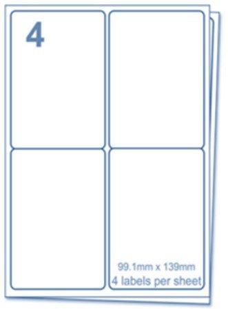 EJRange 4 etiquetas por hoja A4, 200 hojas - 800 etiquetas en total, etiquetas autoadhesivas de dirección compatibles con impresoras de inyección de tinta y láser - Etiquetas adhesivas imprimibles