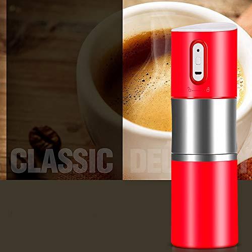 Draagbare Koffiemachine Koffiemolen One-Touch Espresso Machine Reizen Koffie Begeleidende Cup USB Opladen Ingebouwde Filter voor Office Out Camping Reis Rood