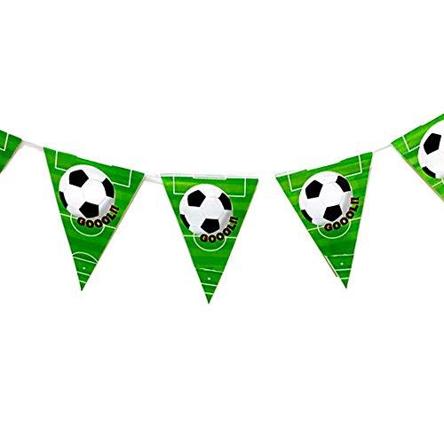 Isuper 1 filamento Triángulo de fútbol del banderín de la Bandera por un Partido de fútbol fútbol Suministros temático Decoración de Fiesta de cumpleaños (Negro Blanco Verde) para su casa