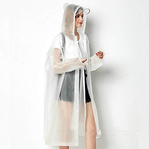 Goldenla Eva transparante lange hak draagbaar regen-eenvoudige vrouwelijke volwassenen in de open lucht enkele lopende poncho om te kijken