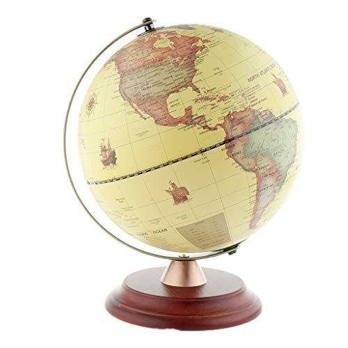 LYA Globo de sobremesa de 9 Pulgadas, Mapa del Mundo de la Tierra giratoria 360 Geografía Antigua Decoración del hogar, Educación Infantil Aprendizaje Global Children - Amarillo