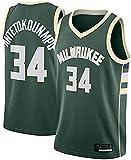 HGTRF Camiseta de Baloncesto Bucks # 34 Camiseta de Hombre Giannis 2020/21 Temporada de Baloncesto Limpieza repetible sin Mangas L