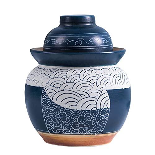 Tarro de fermentación, tarro de kimchi, tarro de gres para fermentar o encurtir kimchi, chucrut con tapa, almacenamiento de cerámica, encurtidos domésticos, lata de alimentos,A,1.75KG