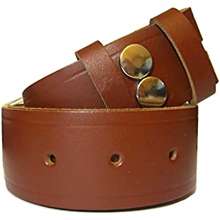 "Bucklebox Handmade Snap Fit Leather Belt 38mm (1.5"") wide - Brown - XX-Large"
