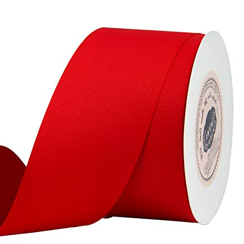 VATIN 2 inches Solid Red Grosgrain Ribbon Spool -25 Yards, Great for Sewing, Gift Wrapping, Hair Bows, Flower Arranging, Home Decorating
