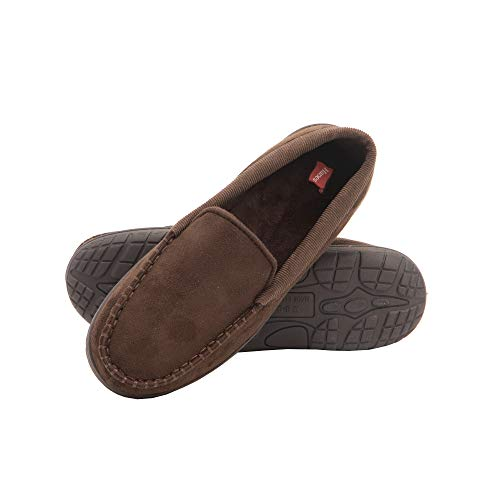Hanes Men's Moccasin Slipper House Shoe with Indoor Outdoor Memory Foam Sole Fresh Iq Odor Protection, Brown/Brown, X-Large