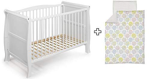 KOKO Babybett Kinderbett Gitterbett LILLY 120x60 weiss inkl. Bettwäsche