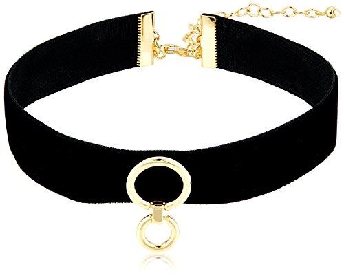 Rebecca Minkoff Velvet Ring Black/Gold Choker Necklace