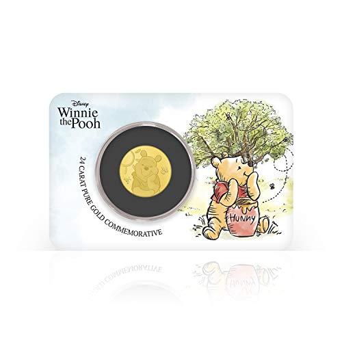 IMPACTO COLECCIONABLES Disney Winnie The Pooh - Moneda / Medalla Oficial acuñada en Oro Puro 24 Quilates presentada en Blister Coleccionista - 18mm