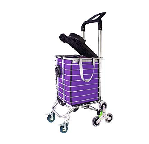 DZX Hand Trucks Folding shopping cart, portable climbing cart with rotating wheels and tarpaulin bags, 177 lb capacity (utility trolley with handbag) hand truck (Style : A)
