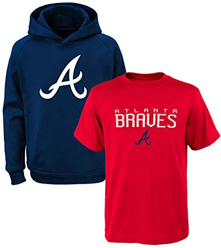 MLB Youth 8-20 Polyester Performance Primary Logo Pullover Sweatshirt Hoodie & T-Shirt 2er-Pack, Jungen, Atlanta Braves, X-Large 18/20 US