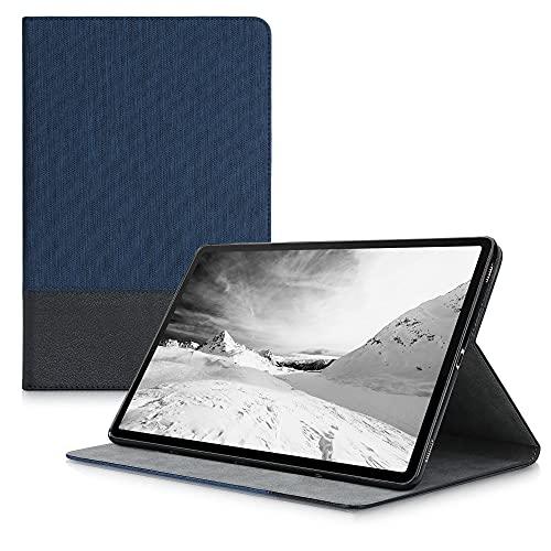 kwmobile Carcasa Compatible con Samsung Galaxy Tab S7 - Funda de Tela para Tablet con Soporte en Azul Oscuro/Negro