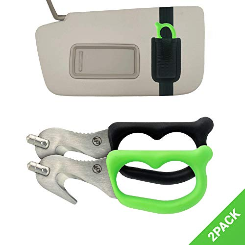 StatGear SuperVizor XT Auto Emergency Rescue Escape Tool  Seatbelt Cutter amp Window Glass Breaker Hammer Survival  Mounts Right to Your SunVisor Pack of 2