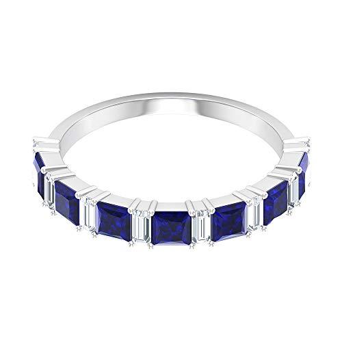 Anillo de la venda difusa de zafiro con corte princesa de 1,4 quilates, certificado SGL, anillo de diamante con forma de baguette de 0,4 quilates, 14K Oro blanco, Size:EU 53