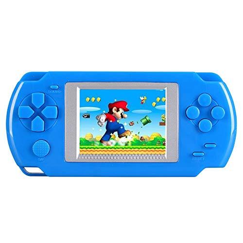 Teepao, console portatile con giochi rétro a 16Bit, display LCD da 3,2', 268 giochi classici inclusi, idea regalo per bambini (blu)