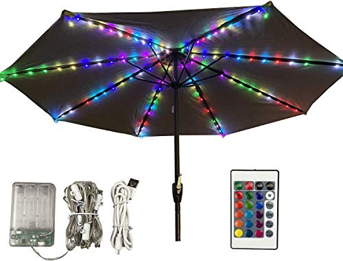 Patio Umbrella Lights,Outdoor Table Umbrella String Lights with Remote&Timer,2 in1Battery und USB Powered16 Color RGB Lighting IP67 Waterproof for Beach Pool Wedding Christmas