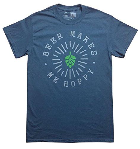10oz apparel Beer Makes me Hoppy T Shirt (M, Heather Charcoal)