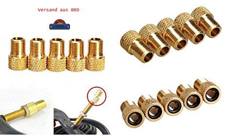 Lot de 5 adaptateurs valve - Adaptateur de vélo (Vélo avec valve Dunlop ou Valve Presta) pour voiture (Valve Schrader) étanche - Fabriqué en Allemagne de ETU24