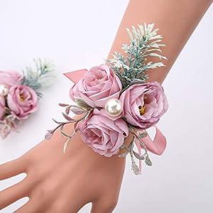 serraflora wristlet corsage,bridesmaid bouquet,wedding wrist flowers,bridal bouquet,artificial flower bouquet,silk flower supplies,flower decor,wedding flowers(22# 4pcs)