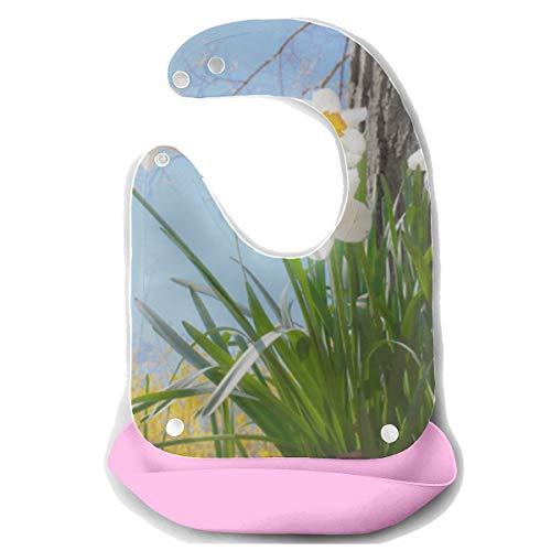 Baberos de niño pequeño Narcisos Primavera Flor de Pascua Naturaleza Primavera Delantal de alimentación de silicona desmontable Toalla de ratón Alimentador de bebé Babero de goteo de babero Baberos g