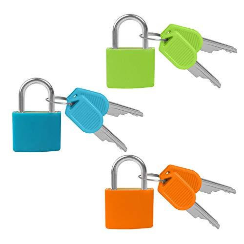 ITME 3 Piezas Pequeño Candado, Candado Colores con Llave Candados de Latón Macizo para Taquilla/ Equipaje/ Escuela/ Archivadores/ Gimnasio/ Maleta/ Caja de Herramienta