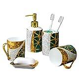 Juegos de accesorios de baño Cuarto de baño de cerámica Juego de accesorios de baño de 5 piezas Set de accesorios Incluye dispensador de jabón Barra Jabonera Vaso cepillo de dientes titular Para encim