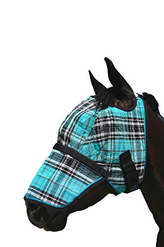 Kensington Signature Fly Mask with Removable Nose  — Protects Horses Face and Nose From Biting Insects and UV Rays While Allowing Full Visibility — Ears and Forelock Able to Come Through the Mask, Medium, Black Ice Plaid
