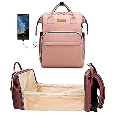 Baby Diaper Bag, Multifunction Diaper Bag with Changing Station Foldable Portable All in One Diaper Bag Convertible Baby Diaper Bag with USB Travel Crib for Outdoor Camping Portable Bassinet