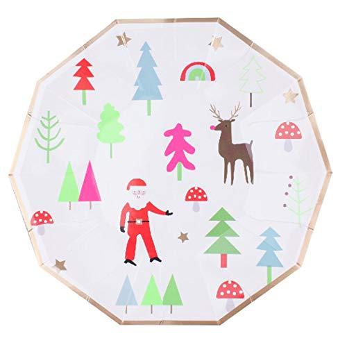 Papieren Platen Wegwerp Platen Party Platen Platen Bekers Bowls Vorken Diner Camping Eco Wegwerp Milieuvriendelijk Papier Lade Papier Cup Kerstboom Diner Plaat Kerstfeest 8 Personen