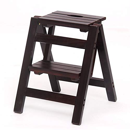 GDFEH Escalera plegable de madera maciza con 2 escalones para cocina o biblioteca
