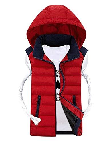 Herren Kapuzenweste Sport Casual Weste Rmellose Daunenweste Jacke Winter Hooded Kleidung Mit Schluss Mischfarben Warme Polsterung Jacke Mantel (Color : Rot, Size : XL)