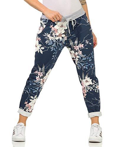 Zarmexx Damen Sweatpants Baggy Hose Boyfriend Freizeithose Sporthose All-Over Roses Print One Size (floral4, One Size)