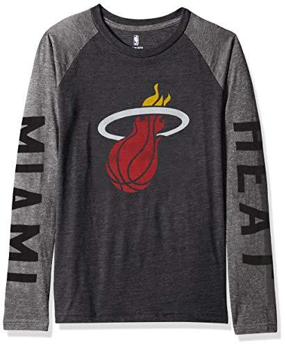 OuterStuff NBA by NBA Youth Jungen Raglan-T-Shirt Fadeaway, Jungen, Fadeaway Long Sleeve Raglan Tee, schwarz, Youth Medium (10-12)