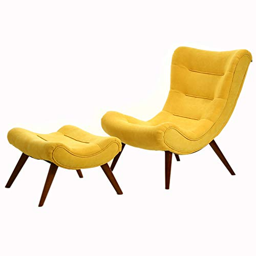 INMOZATA Armchair and Footstool Linen Fabric Chair with Footstool Comfy Tub Occasional Chair Hold Weight to 150KG(Yellow)