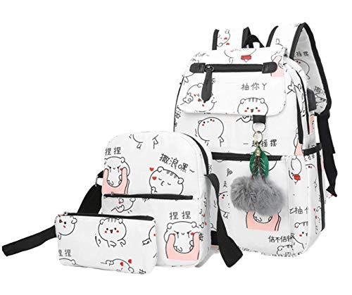 Damen Mode Schultasche Kawaii Druck Rucksack Mädchen Lässig Backpack Schule Teenager Daypack Schul Laptoprucksack Schulranzen Schoolbag