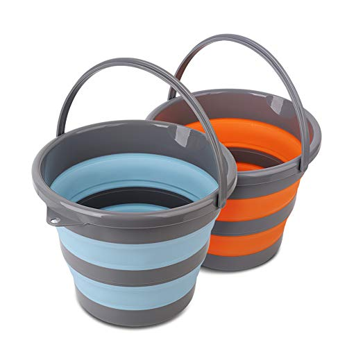 2 Pack Collapsible Plastic Bucket with 2.6 Gallon (10L) Each, Foldable Round Tub for House Cleaning, Space Saving Outdoor Waterpot for Garden or Camping, Portable Fishing Water Pail (Blue & Orange)