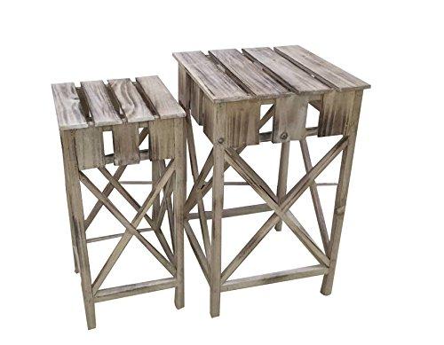 Decoline Holz Blumen-Hocker 2 Stück im Set - klein und groß
